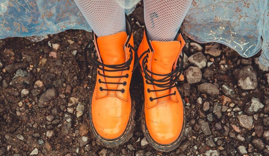 Old orange boots
