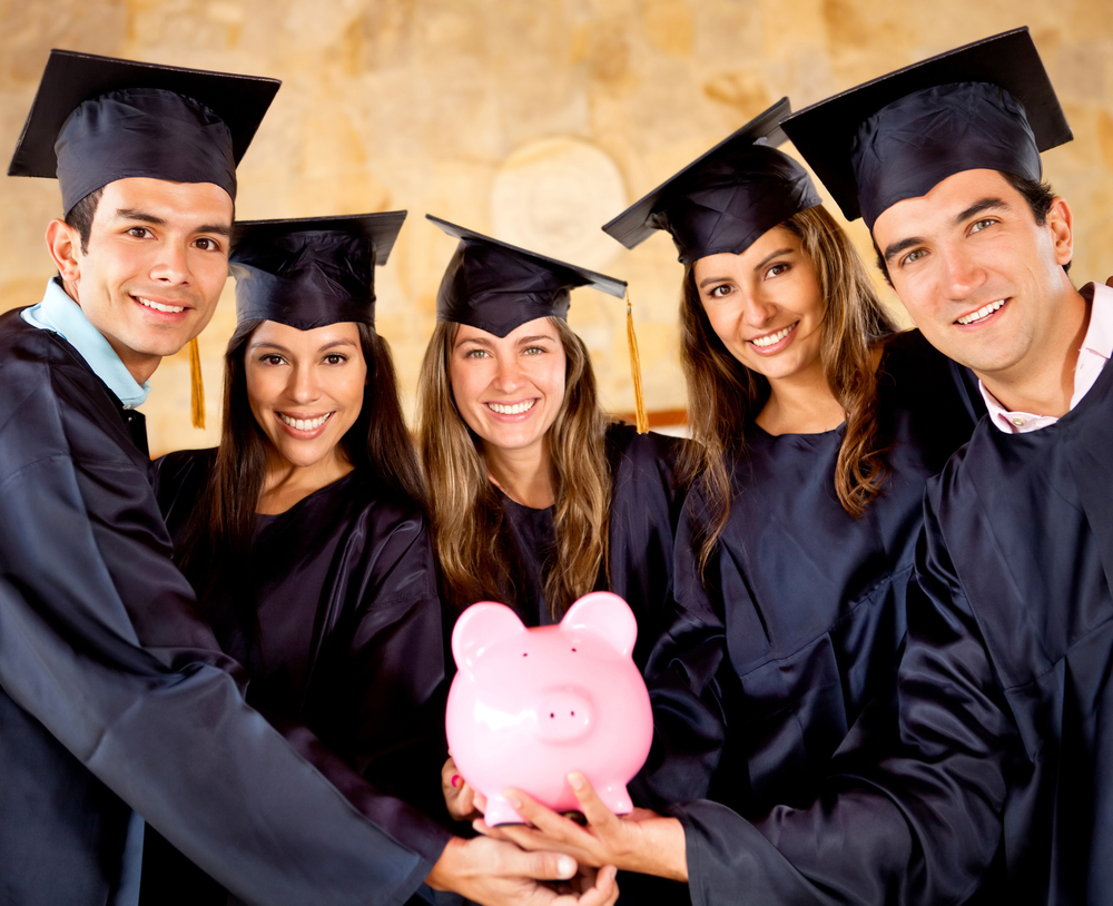 University and college students holding a piggy bank interested in student loan debt advice and debt repayment options