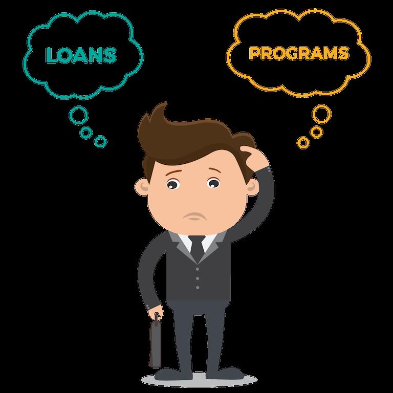 Businessman-question-loans-programs