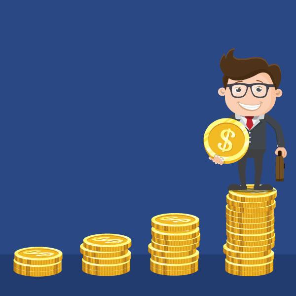 Illustration of Man Growing His Savings Through Good Money Management Skills
