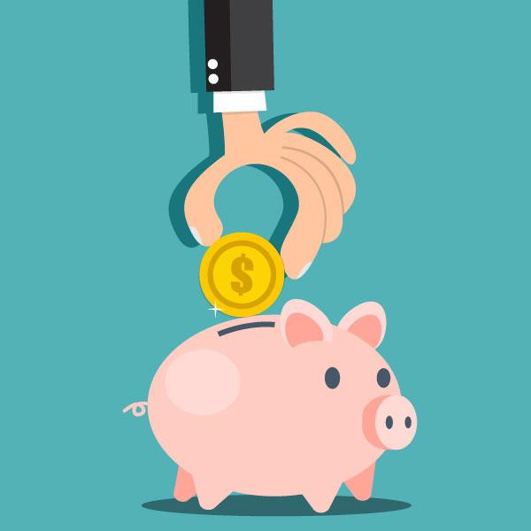 Illustration of Man Putting Money Into a Piggy Bank